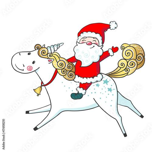 Hand drawn cute Unicorn and Santa Claus.