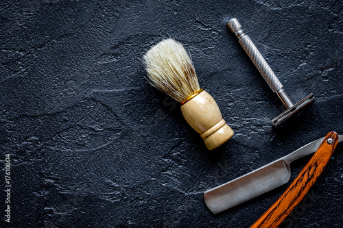 Tools for cutting beard barbershop top view Poster