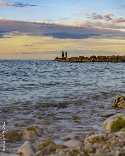 Keuken foto achterwand Zee zonsondergang Sagome al tramnto