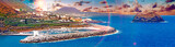 Paisaje pintoresco de la isla de Tenerife.Oceano e islote, Pueblo de Garachico.Naturaleza y paisajes hermosos en Islas Canarias.Viajes y aventuras por las costas españolas