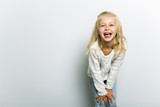 Cute girl 4-5 year old posing in studio - 176125455