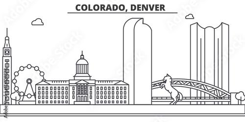 Fridge magnet Colorado, Denver architecture line skyline illustration. Linear vector cityscape with famous landmarks, city sights, design icons. Editable strokes