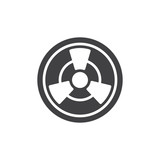Toxic icon vector, filled flat sign, solid pictogram isolated on white. Radioactive hazard symbol, logo illustration. - 176129420