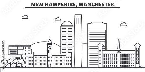 New Hampshire, Manchester architecture line skyline illustration. Linear vector cityscape with famous landmarks, city sights, design icons. Editable strokes