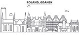 Poland, Gdansk architecture line skyline illustration. Linear vector cityscape with famous landmarks, city sights, design icons. Editable strokes