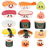 Funny cute happy sushi and sashimi character set collection - 176133088