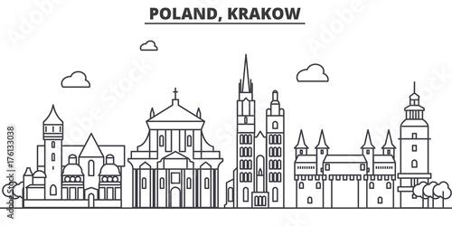 Fototapeta Poland, Krakow architecture line skyline illustration. Linear vector cityscape with famous landmarks, city sights, design icons. Editable strokes