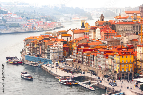 Aerial view with traditional multicolored quaint houses in Old town of Porto in Poster