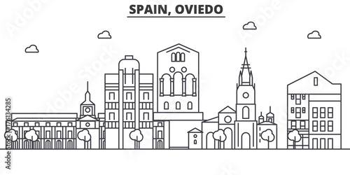 Spain, Oviedo architecture line skyline illustration. Linear vector cityscape with famous landmarks, city sights, design icons. Editable strokes