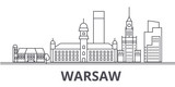 Warsaw architecture line skyline illustration. Linear vector cityscape with famous landmarks, city sights, design icons. Editable strokes - 176135097