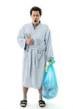 Full Length Yawning Man in bathrobe early in the Morning starting his day, Isolated on White Background: Bringing out the Trash - 176136098