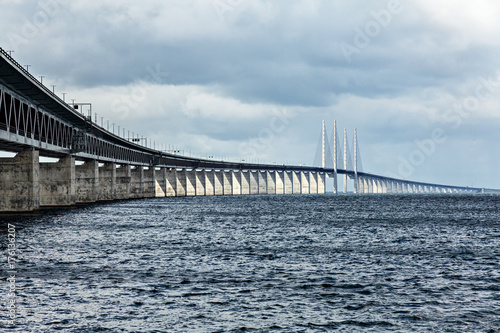 Oresund Bridge connecting Sweden and Denmark. Poster