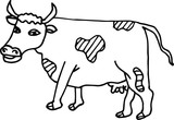 Cow painting. For children. Line style