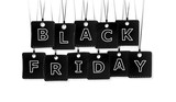 Black Friday text with black labels isolated on white background - 176141227