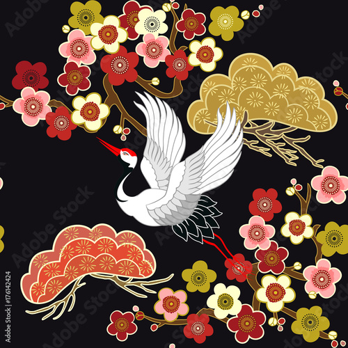 Cotton fabric Seamless pattern with flying birds. Crane. Heron. Japanese pattern. Ornament with oriental motifs. Vector.