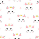 Seamless cat princess pattern. Vector background for kids.