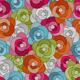 Seamless bright floral pattern. Vector colorful background with abstract flowers - 176144887
