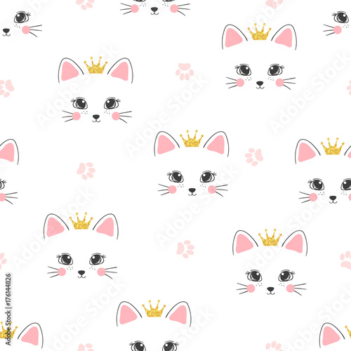 Fototapeta Seamless cat princess pattern. Vector background for kids.