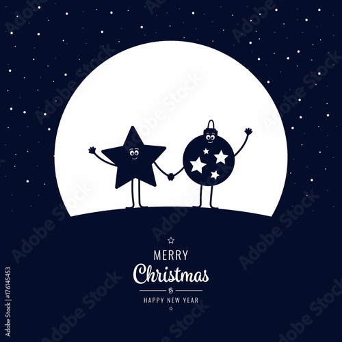 Papiers peints Echelle de hauteur Christmas cartoon figure wave winter night big moon stars background