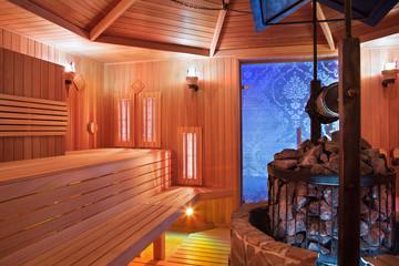 Interior of Finnish sauna, infrared panels for medical procedures
