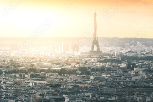 Evening Light on Tour Eiffel and the City - Paris