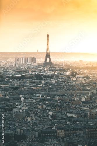 Fotobehang Eiffeltoren Sunset around Tour Eiffel and the City - Paris