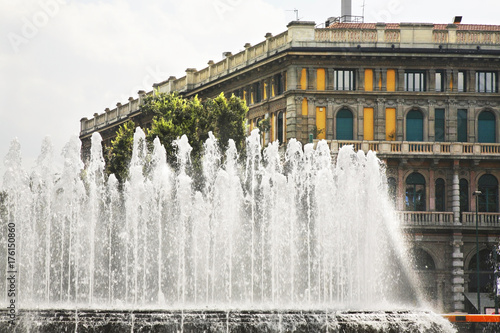 Tuinposter Milan Fountain in Milan. Lombardy. Italy