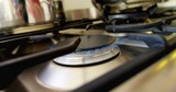 Burning on a gas stove in the kitchen  - 176152623