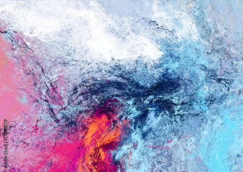 Fototapety, obrazy : Bright futuristic clouds. Color artistic splashes. Abstract beautiful painting texture. Modern cloudy background.  Fractal artwork for creative graphic design.