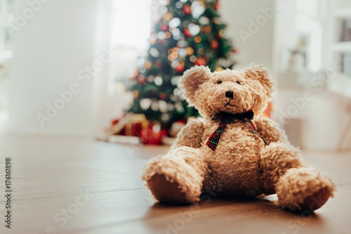 Teddy bear as Christmas gift for children. Poster