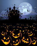 Halloween background with scary pumpkins and Dracula castle - 176162665