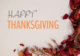 Happy thanksgiving text with dried Autumn flowers - 176163656