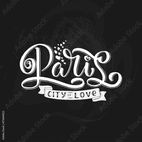 Paris hand drawn vector calligraphy brush lettering. Design element for cards, banners, flayers, T shirt prints and more