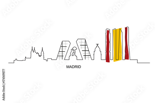 Madrid city landmarks with Spain flag colors