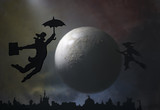 A man is flying over the city, against the background of the moon. - 176171414