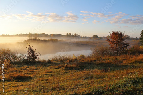 Misty nature landscape on early autumn morning. Russia. Poster