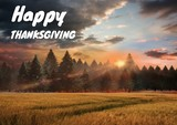 Happy thanksgiving text with forest in Autumn - 176174256