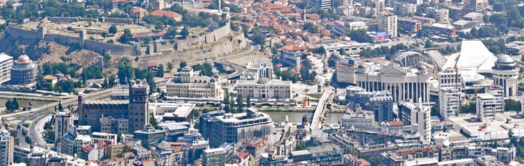 Aerial view panorama of Skopje centrum with objects built with 2014 project, Macedonia