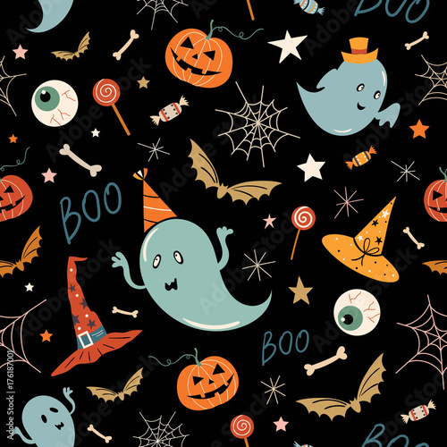 Cotton fabric Halloween seamless pattern with hand drawn elements, ghosts and pumpkins, vector design