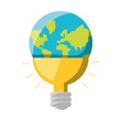 colorful bulb  idea global planet   overwhite background  vector illustration