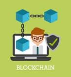 blockchain businessman shield protection virtual vector illustration - 176190822