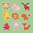 cute animals icon set over green  background colorful design vector illustration