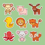cute animals icon set over green  background colorful design vector illustration - 176191003