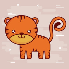 cute tiger icon over brown background colorful design vector illustration