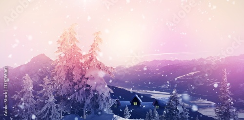 Foto op Canvas Wit View of landscape during snowfall