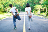 children warm up before running on the road, color of hipster tone selective and soft focus - 176196636