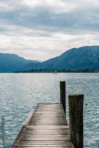 Plexiglas Pier Pier in Mondsee lake a summer day