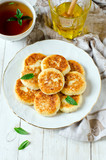 Cottage cheese pancakes with honey - 176198869