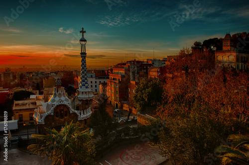 Poster Barcelona Park Guell Carrer d'olot. Gaudi, Sunrise