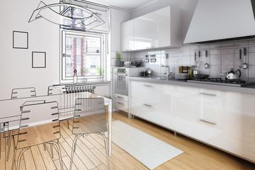 Kompakte Kücheneinrichtung (Illustration)